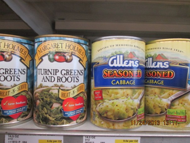 Turnip Greens and roots.  Seasoned Cabbage, I bought a can of the cabbage!