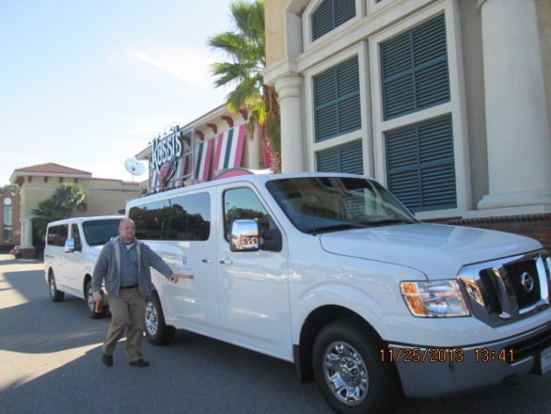 Our shuttle from the strip mall to the resort, I'd guess about 7 miles away.  We watched a video on the way.