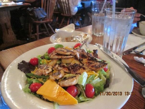 My lunch, grilled chicken salad at Cracker Barrel.