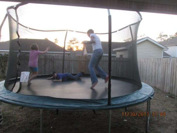 Back yard trampoline.