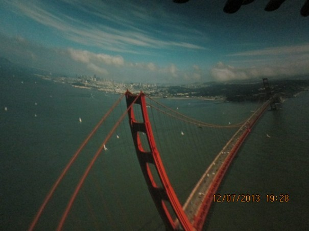 Hang gliding over the Golden Gate.