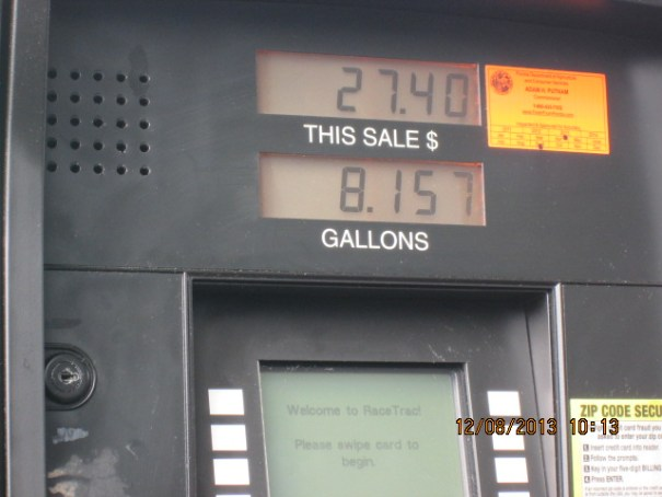 Filled up at Race Fuels, $3.36 a gallon.