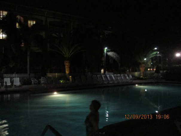 Saw a really pretty woman at the pool tonight, braving the cold.