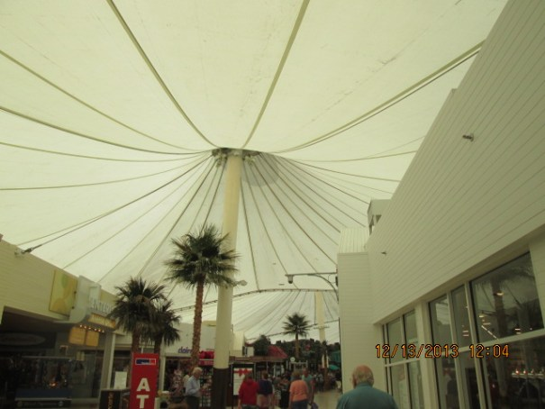 Part of the Mall is under a tent like structure.