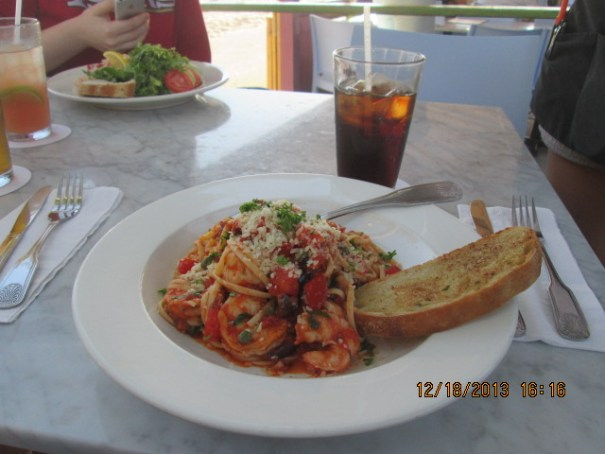 Edie's shrimp pasta with garlic bread.