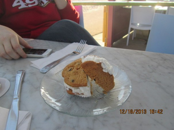 Lex's ice cream chocolate chip cookie dessert.  She saved the last bite for me.