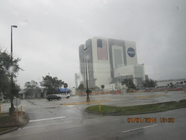 The Vehicle Assembly Building.  With the bay doors open all the way the Saturn rocket cleared it with 3 feet to spare.