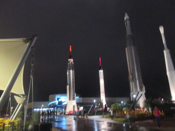 Rocket garden at night.