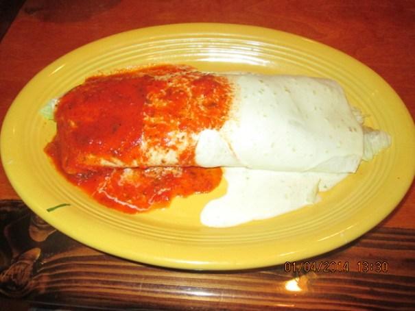 I had a chicken burrito, it was delicious.