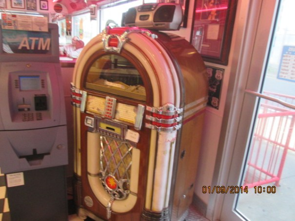 Old time juke box.  The music in the diner was provided by the boom box on top of the juke box.