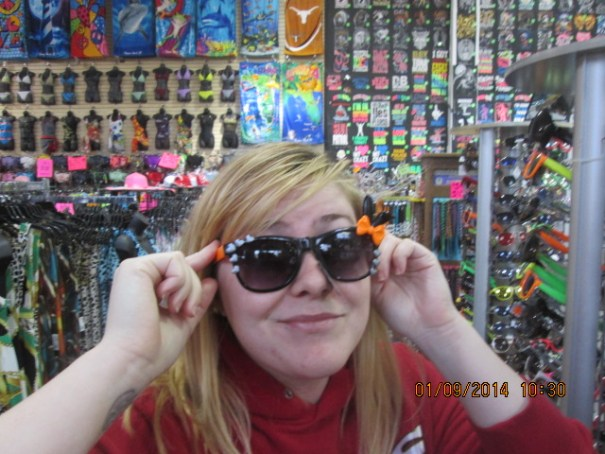 Lex trying on sunglasses.