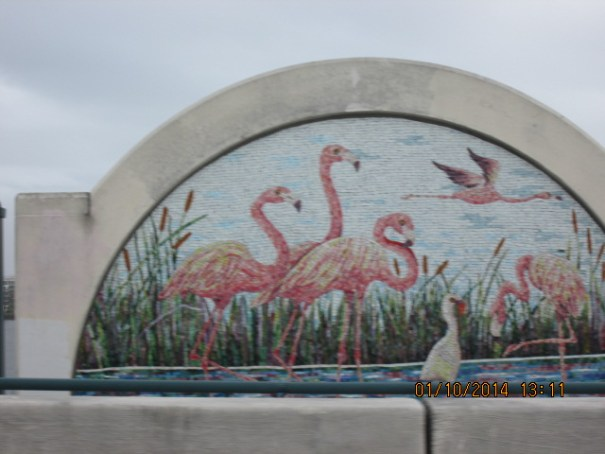 Went across a bridge with these beautiful murals every hundred feet or so.