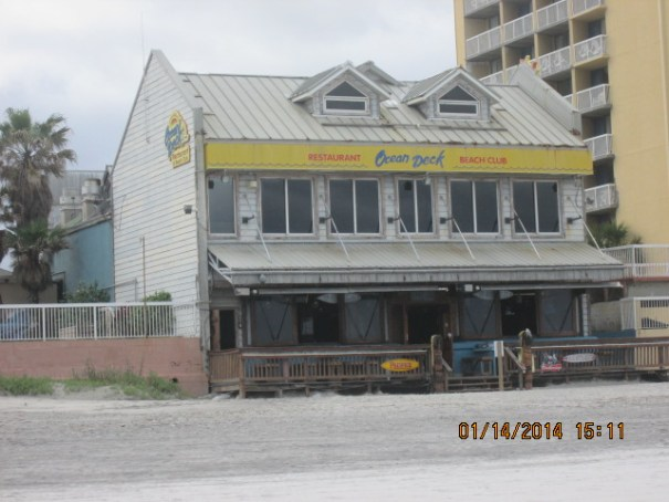 Ocean Deck restaurant looks a little rough from the ocean side.