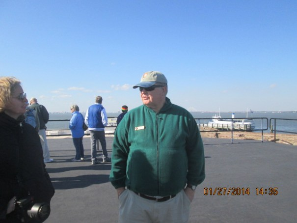 Robin chatting with docent volunteer Chip.