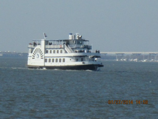 The Charleston Ferry had to wait for us to leave to dock at the Fort.
