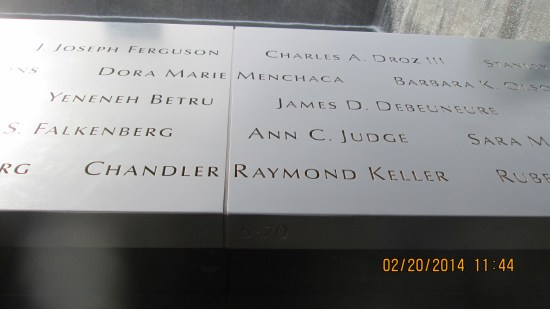 The names of the dead from the Pentagon and Flights 93 & 77 are included.