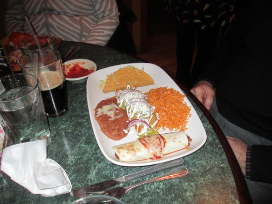 John had a combination plate including a tamale, after consultation with Krissy.