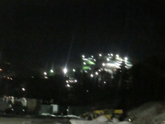 Night skiing.