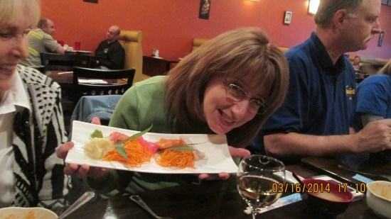 My beloved cousin Kathy showing off her appetizer.
