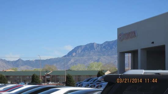 Handsome mountains to the east of the dealership.