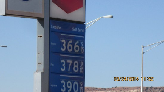 Ganado prices.  Good thing we filled up in Gallup.