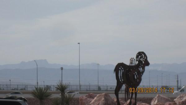 Las Vegas animals statues along the freeway.