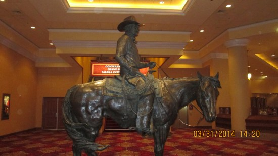 Statue to Mr Binion, who brought the arena and rodeo to LV.