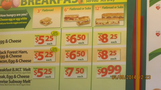 The most expensive subway I have ever seen.  The 3 inch flat bread was $5.25.