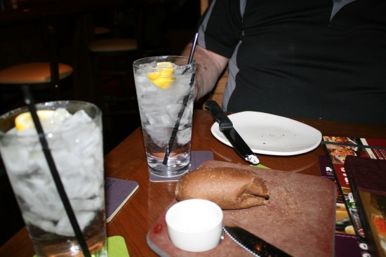 Warm bread and nice ice water.