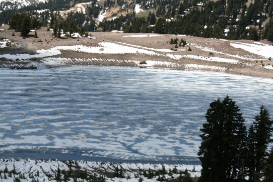 Nearly frozen lake.
