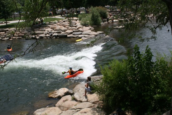 I must think about the action of the water that propels the kayak forward and holds it at the base of the fall.