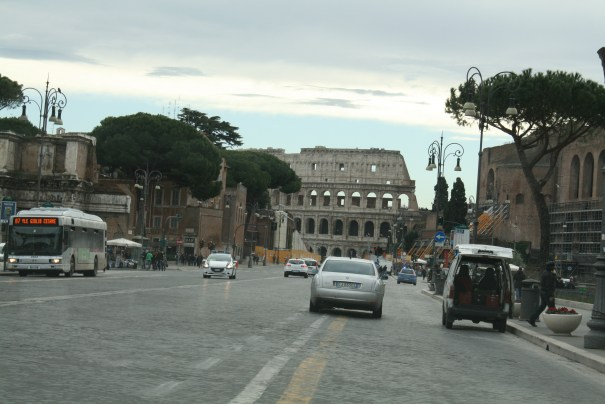 Driving down the road to the Colosseum, wonder how many times that has happened over the centuries.