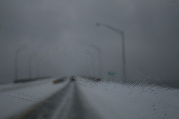 Oh good, tall bridge, icy road and gusting winds.