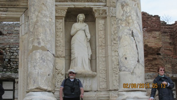 Grumpy and Marie at the Library of Celsus.