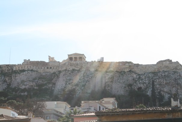 Looking up at the Acropolis