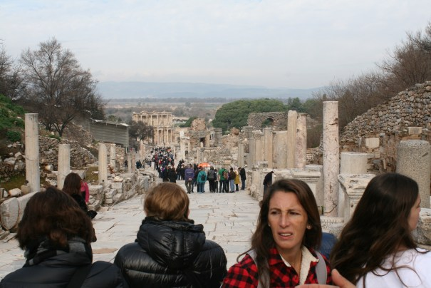 Headed down, two story is library of Celsus at the end.