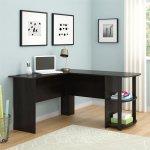 Ryan Rove Kristen Corner L Shaped Computer Desk In Dark Russet Cherry