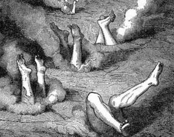 Gli angeli ribelli conficcati a testa in giu' nell'Inferno