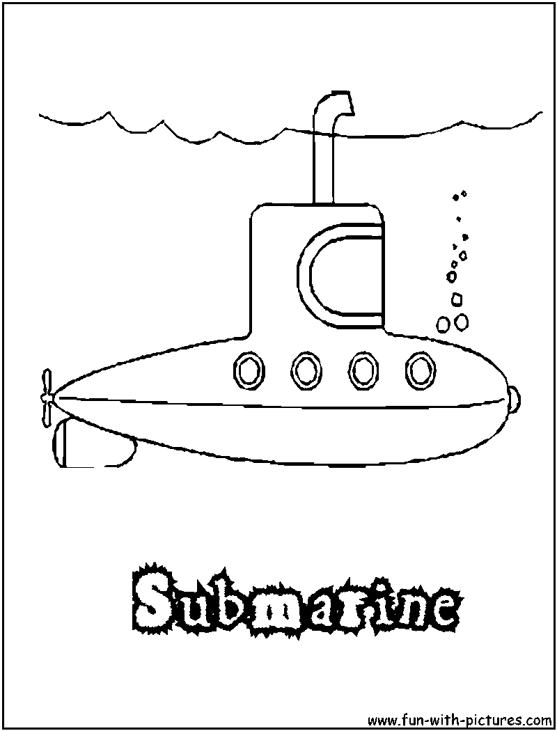 submarine coloring page png