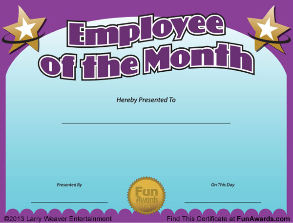 Funny Employee Recognition Certificates