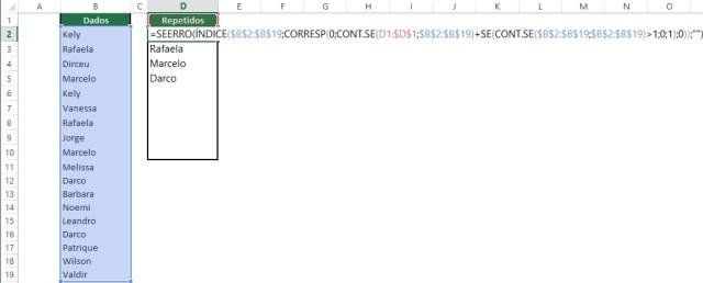Listar dados repetidos em uma coluna (2)