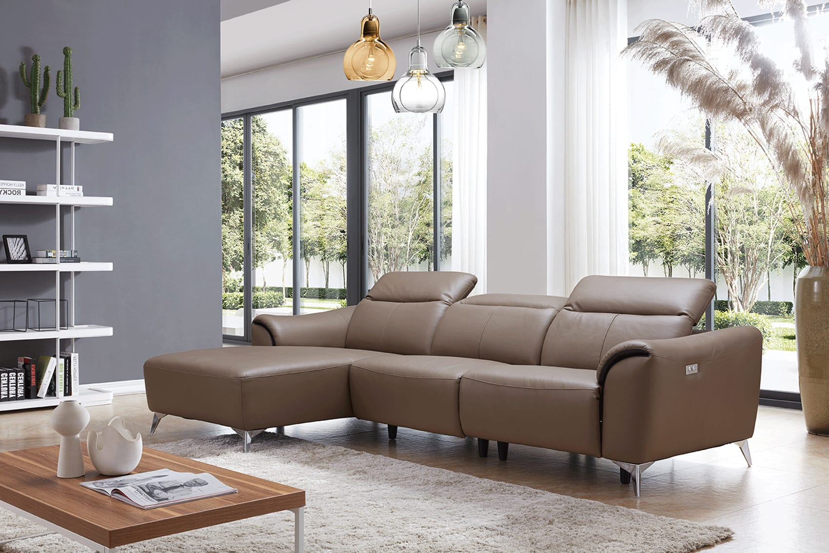 950 brown leather sectional by esf