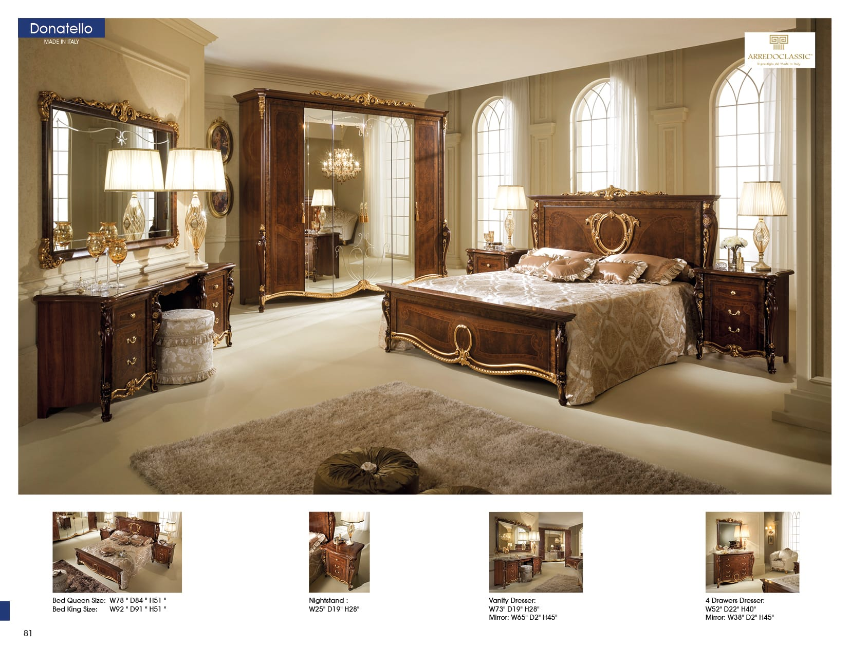 donatello brown bedroom set by esf