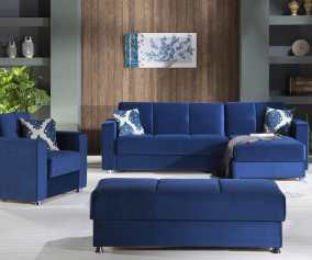 Elegant Roma Navy Sectional Sofa By Istikbal Furniture
