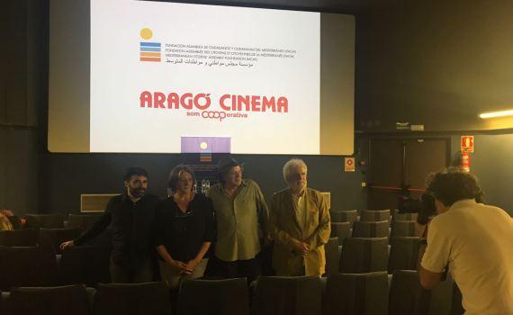 (De izquierda a derecha) Samuel Sebastian, programador del ciclo, Alicia Serrano, responsable de Aragó Cinema, Karim Traïdia, director de cine y Vicent Garcés, presidente de la Fundación ACM.