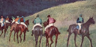 Caballos de carreras en un paisaje (1894) de Edgar Degas
