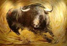 """Un toro de la exposición """"Capotes"""" de Mariano Cobo"""