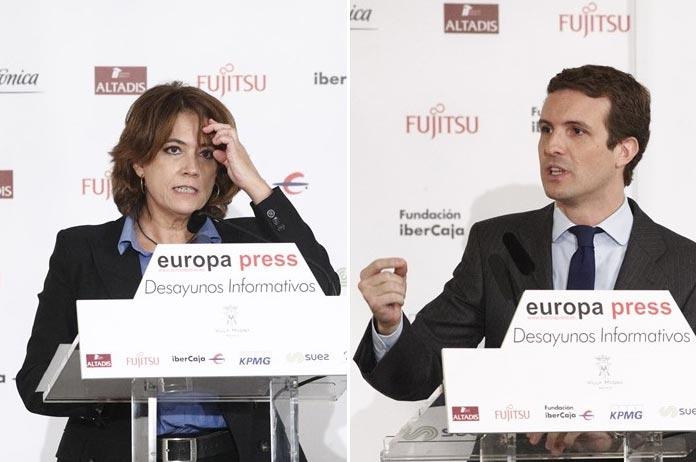 Dolores Delgado y Pablo Casado en los desayunos informativos de Europa Press, el lunes 15 y martes 16 de octubre de 2018 respectivamente