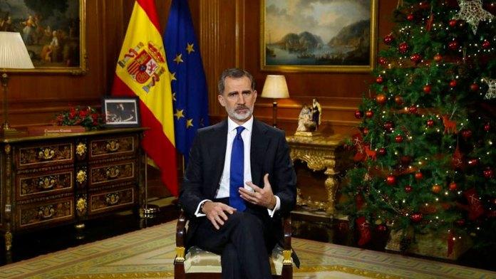 Felipe VI durante el mensaje de nochebuena de 2020