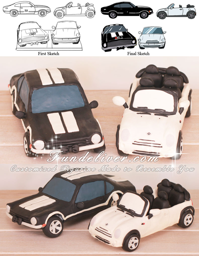 Mini Cooper and Ford Maverick Car Wedding Cake Toppers